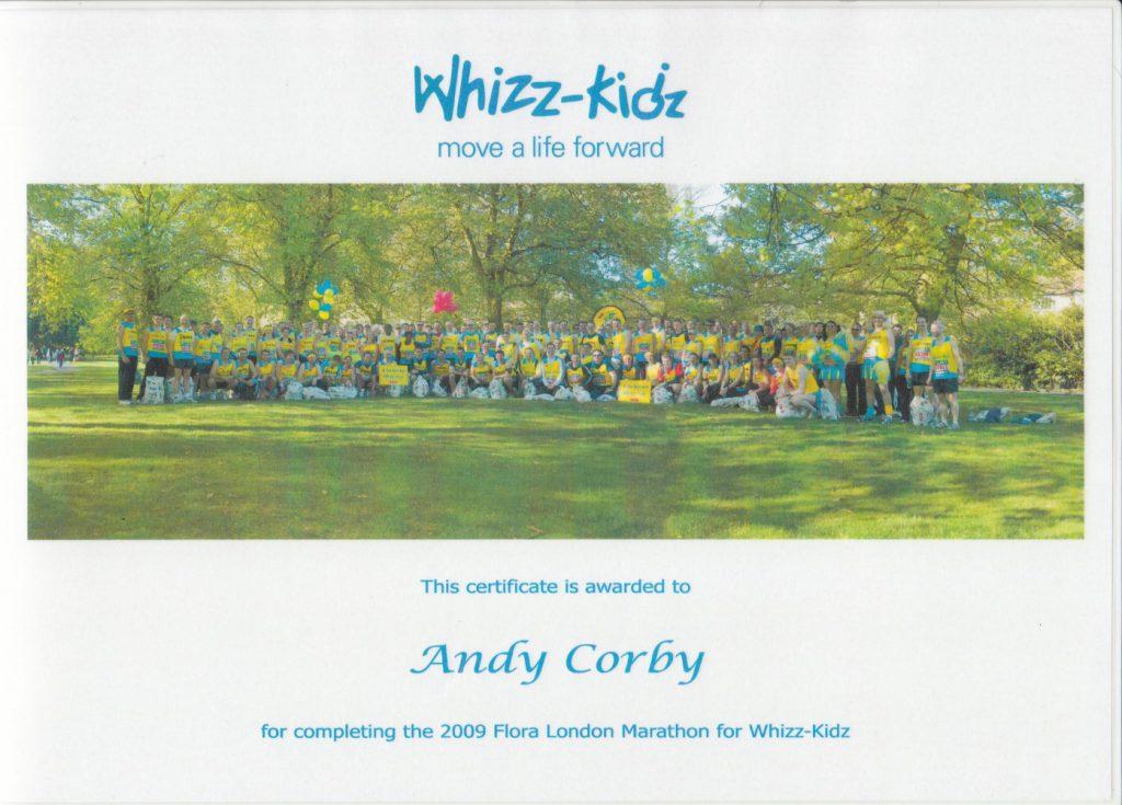 Andy Corby - Certificate - Marathon Whizz Kids