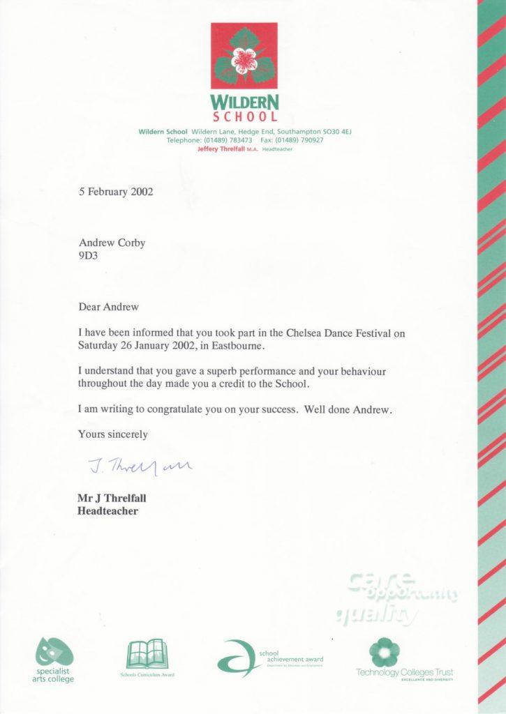 Andy Corby - Letter - Wildern Chelsea Dance Festival Letter