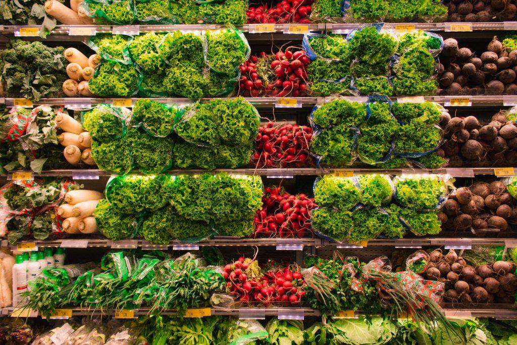 Assorted Vegetable Shelves at Supermarket